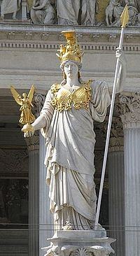 Athena, goddess of war, strategy, and wisdom. She was always accompanied by her owl and the goddess of victory, Nike.