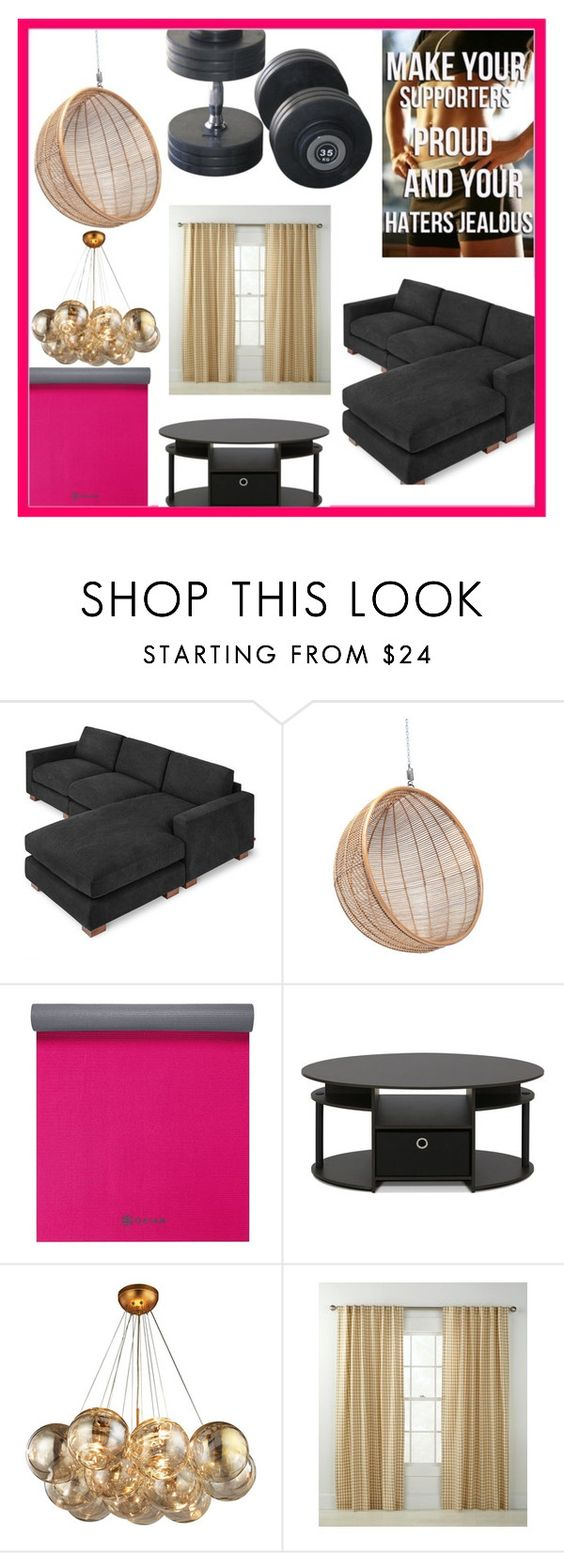 """""""Fitsp Room"""" by dreamingdaisy ❤ liked on Polyvore featuring interior, interiors, interior design, home, home decor, interior decorating, Gus* Modern, Gaiam, Furinno and Country Curtains"""