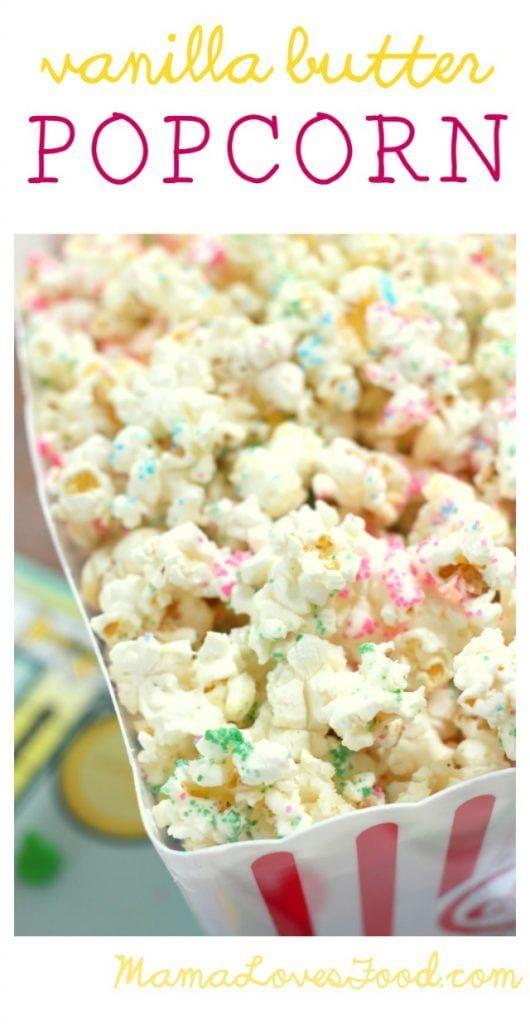 Vanilla Butter Popcorn Recipe In 2019 Butter Popcorn Game Night