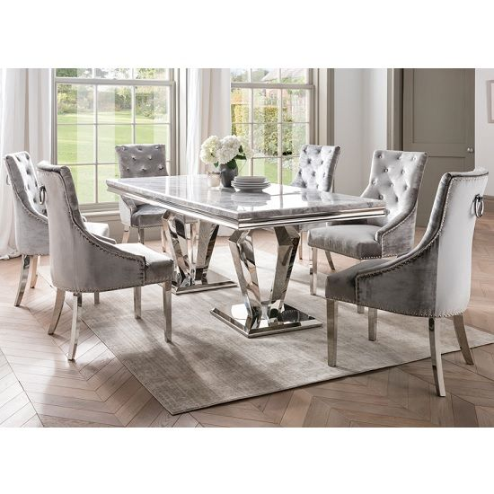 Arlesey Marble Dining Table In Grey With 6 Pewter Velvet Chairs Grey Dining Tables Dining Table Marble Marble Top Dining Table