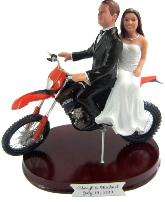 Bride Groom Dirt Bike Cake Toppers