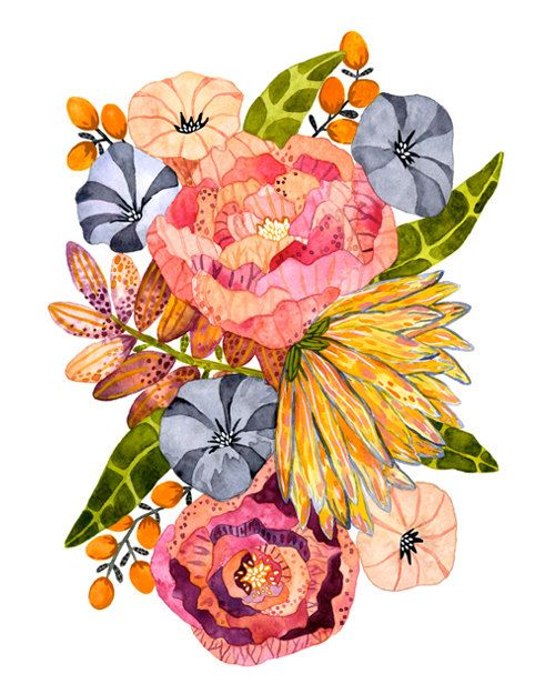 Flower Art Print, Watercolor Painting, Floral, Botanical, Giclee Art Print, Archival Art Print - Bodhi Blossoms by Marisa Redondo