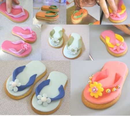 Cookie decorations | Flip flops made on the summer cookies workshop