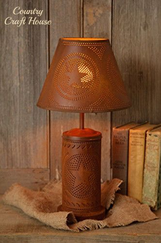 New Primitive Country RUSTY STAR LAMP Electric Light Punched Tin