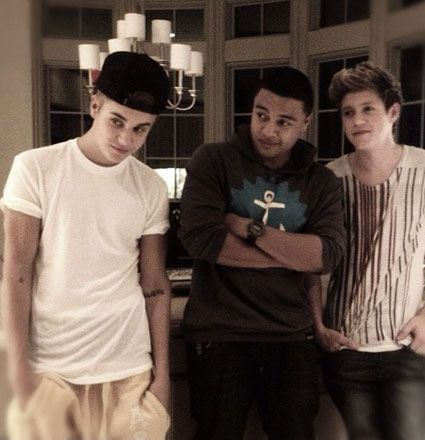 Justin Bieber with Fredo and Niall Horan