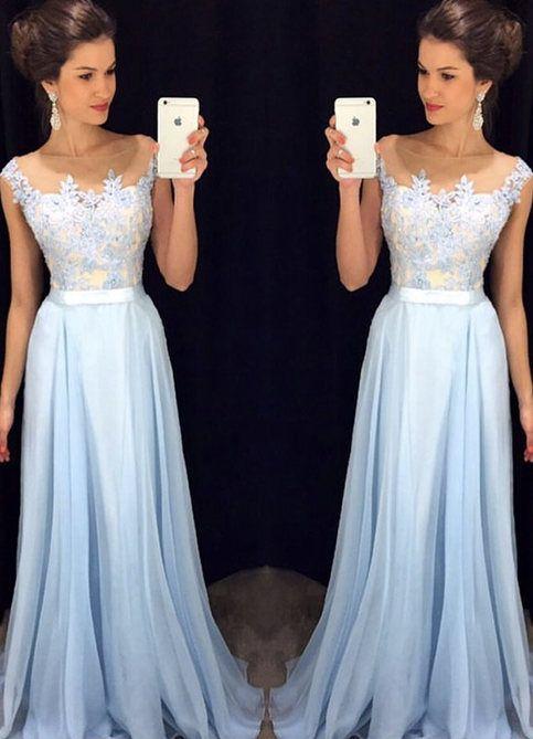 Bg816 Charming Prom Dress,Blue Prom Dress,Chiffon Prom Dress,Long