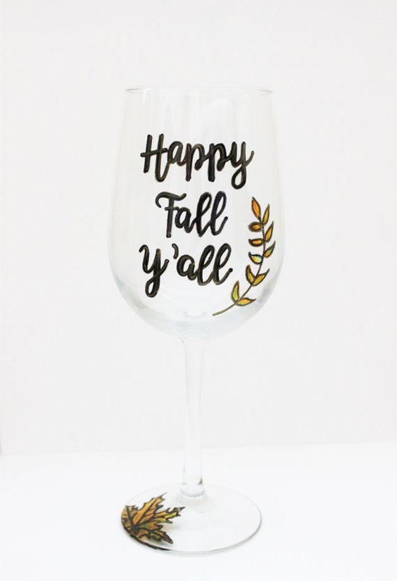 Fall Wine Glasses Happy Fall Yall Painted Wine by MotherWrenStudio