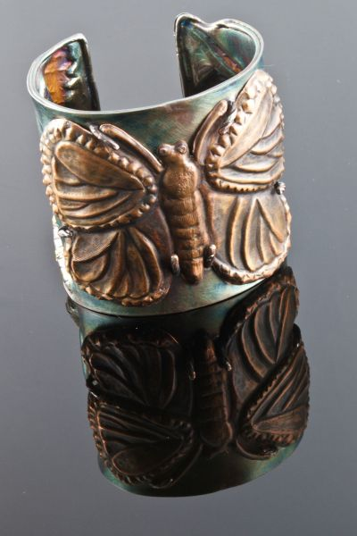 Diana Casabar--Butterfly Cuff Triptych  Chased and Repoussed monarch butterfly in copper.: Butterfly Triptych, Cuff Triptych, Jewelry Inspiration, Triptych Side, Triptych Chased, Photo, Fantastic Cuffs