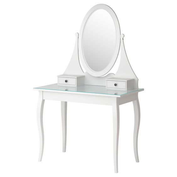 Hemnes dressing table with mirror white ikea ikea for Ikea dressing table hemnes