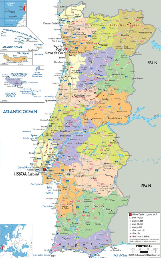 Portugal lies in SW Europe on the Iberian Peninsula. It's the westernmost nation in mainland Europe. The Atlantic Ocean is on its west; Spain is on its E & N. Most people in Portugal are Roman Catholics (80%). Its language is Portuguese. Of course, foreign languages are also spoken by some of the population.