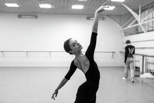 "Dorothée Gilbert and Vladimir Shklyarov rehearsing ""The Kingdom of the Shades"" act from La Bayadère"