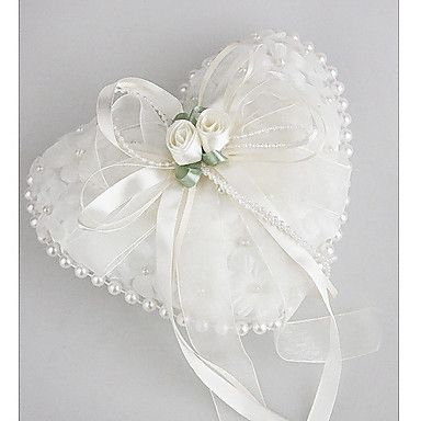 Wedding Ring Pillow in Smooth Satin With Lovely Flowers and Pearls – USD $ 10.49