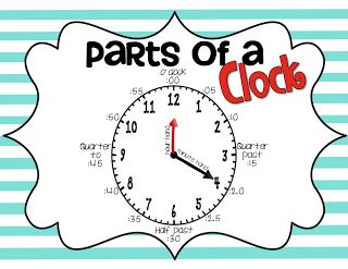 Worksheets Parts Of A Clock parts of a clock poster freebie school days pinterest freebie