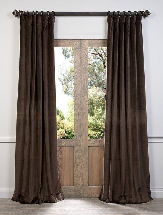 Ash Brown Cotton Velvet Curtain VCCH-3150204-108 ...