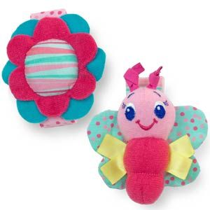 Pretty in Pink™ Rattle Me Bracelets™ - Little miss is fascinated by her feet - these make them even more interesting!