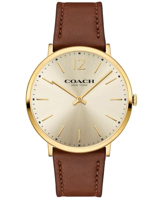 Coach Men's Slim Easton Brown Leather Strap Watch 40mm 14602111