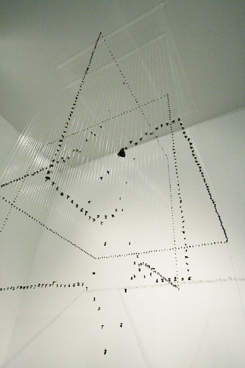 claire morgan installation artwork art hanging fluid crow strawberries taxidermied fishing hooks nylon