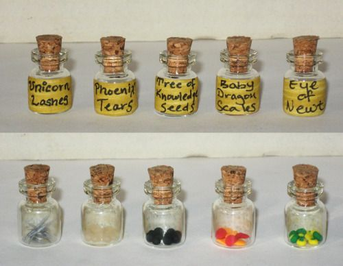 gabriellesbabrielles:  I raided Harry Potter's potions ingredients and found Unicorn Eyelashes, Phoenix Tears, Tree of Knowledge Seeds, Baby Dragon Scales, and of course, your obligatory Eye of Newt. Bottles are 1 inch tall.