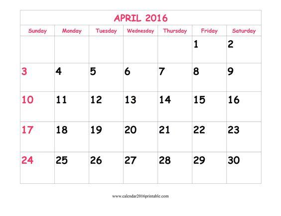 April Calendar You Can Edit : Free cute april calendar that you can download