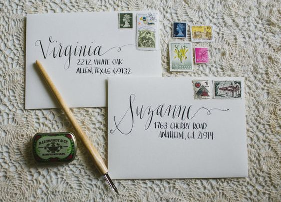 Calligraphy envelope modern and