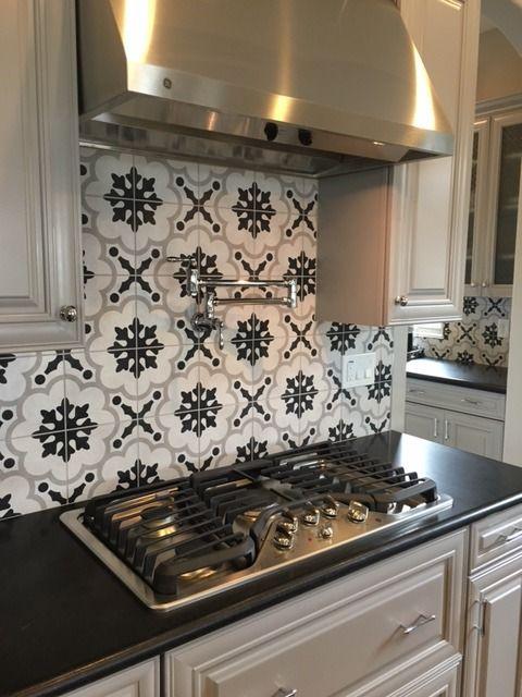 Arizona tile cementine int stone tile concrete pinterest beautiful stove and the box - Black and white kitchen backsplash ...