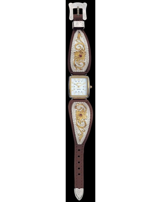 Montana Silversmiths Ladies Flower and Ruby Watch