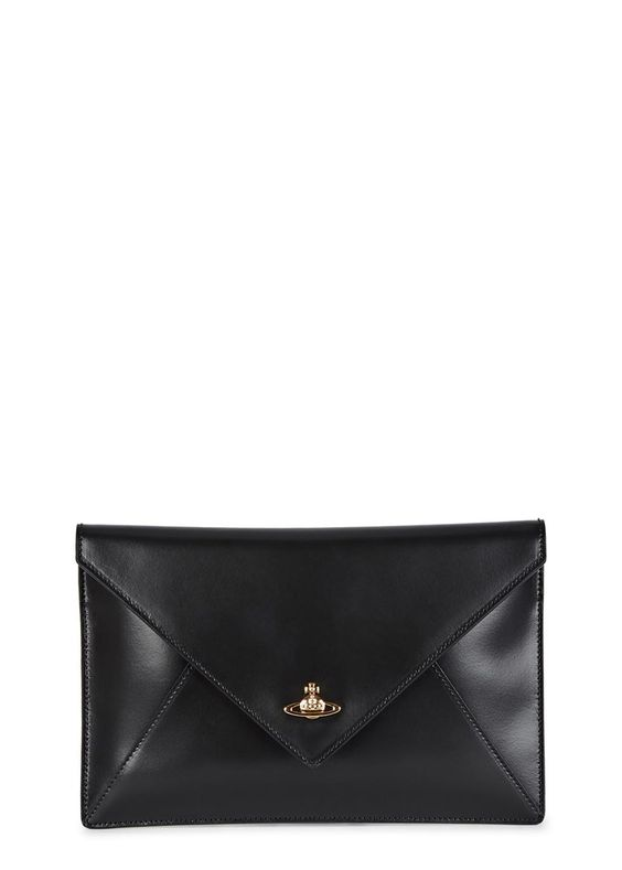 Vivienne Westwood black leather clutch  Gold orb embellishment, internal zipped pocket, three card slots, orb-print lining  Concealed magnetic press stud fastening at flap front  Comes with a dust bag