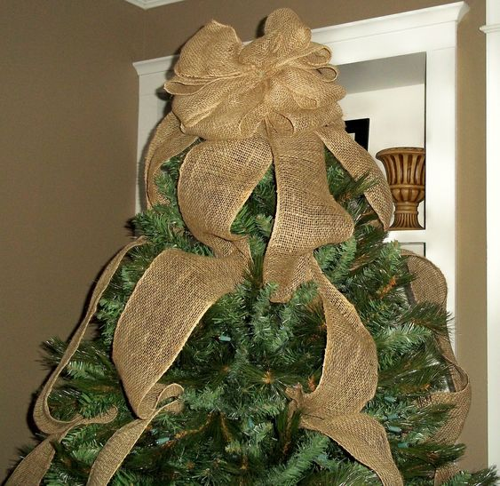 Burlap Christmas Tree Topper Bow With Streamers Natural