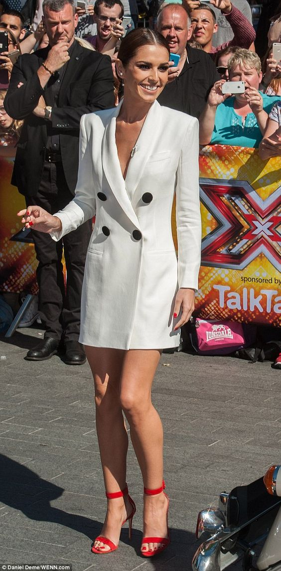 Cheryl Fernandez-Versini covers up in a stylish white tuxedo dress #dailymail