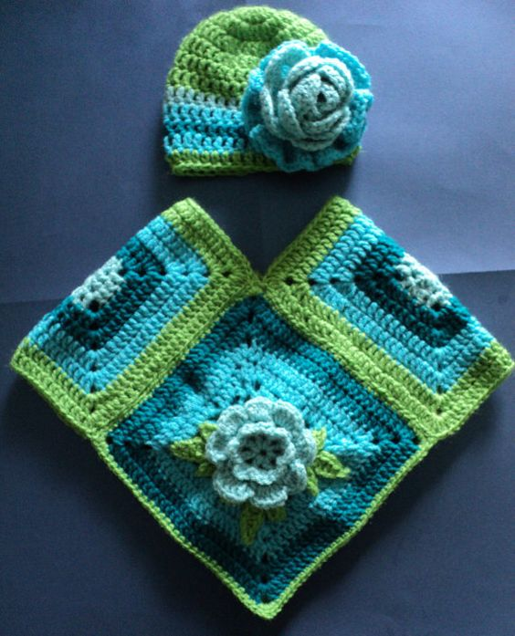 Crocheted Lime Turquoise & Teal Baby/ Newborn by myponcholoco, 50.00