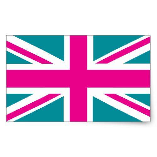 Shock Pink Union Jack British Uk Flag Rectangular Sticker