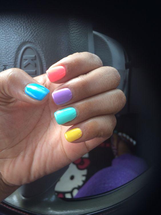 Pastel Multi colored nails  #shortnails #gelmani