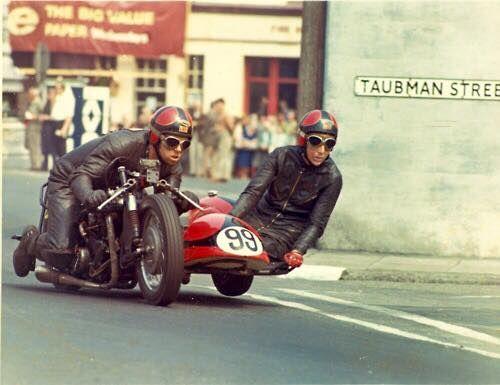 Mac Hobson & Geoff Atkinson at the 1970 TT, 750 BSA. finish 7th