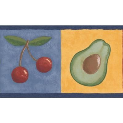 Retro Art Avocado Grapes Lemon Cherry On Colorful Squares Kitchen Bathroom Prepasted Wallpaper Border Multi Retro Art Prepasted Wallpaper Wallpaper Border