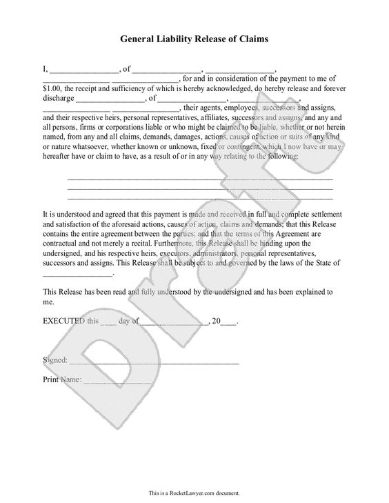 General Liability Release of Claims Form village items - liability document