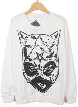 White+Long+Sleeve+Super+Female+Print+Sweatshirt+US$23.70