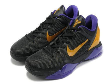 Nike Zoom Kobe 7 Lakers Away Black Purple Yellow,It features a black upper with