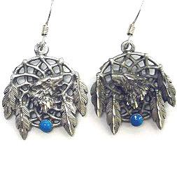Dangle Earrings - Wolf Dream Catcher