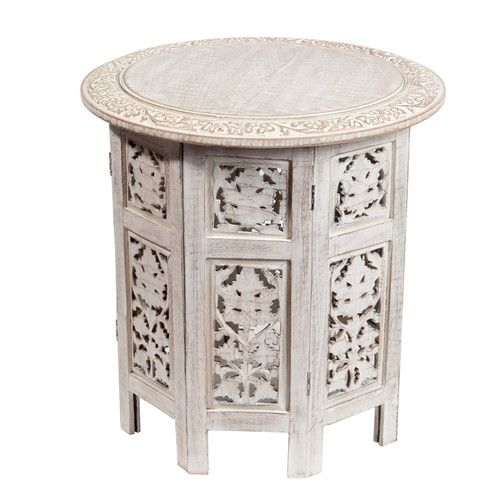 Whitewashed Saranya Table Side Table Wood Side Table Decor Table Furniture