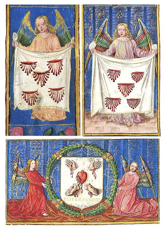 Angels displaying cloth on which are five bleeding wounds (top) | Two angels flank and support heraldry of the Acuña family of Castile incorporating bleeding hands, heart and feet of Christ (bottom) |  Gradual | Spain, Castile |  ca. 1500-1510 | The Morgan Library & Museum