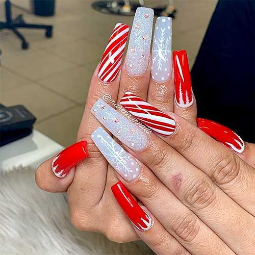 Amazing Long Coffin Shaped Christmas Nails Set That Consists Of Ice Glitter Snowflakes And Cand Christmas Nails Acrylic Christmas Nails Winter Nails Acrylic