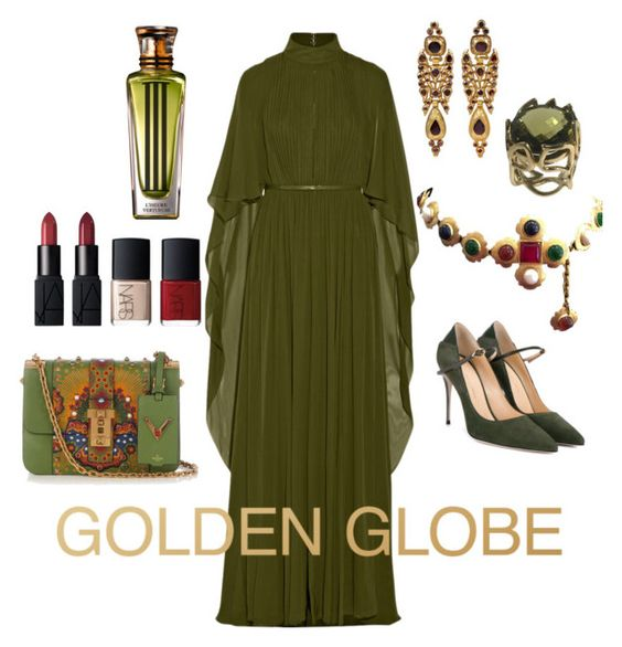 """#goldenglobes"" by suddenlyham on Polyvore featuring Elie Saab, Chanel, Jennifer Chamandi, Valentino, NARS Cosmetics and Cartier"