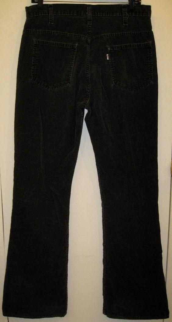 Vintage 1970&39s Levi&39s 646 Black Corduroy Bell Bottoms Flare Mens