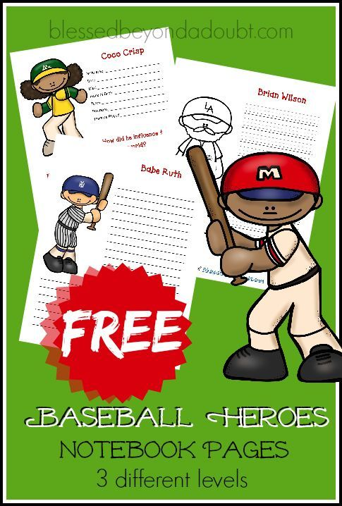 Free Baseball Heroes Printables Free Homeschool Resources Writing Activities Kids Learning
