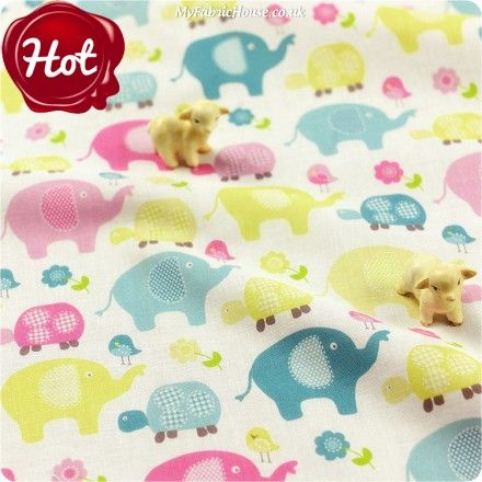BESTSELLER   Elephant ♥ 48x55cm Elepant, Turtles & Birds in Duck Egg Cotton Fat Quarter Fabric