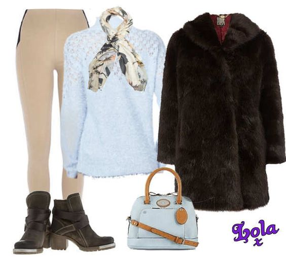 blue bag khaki boots chocolate fur coat