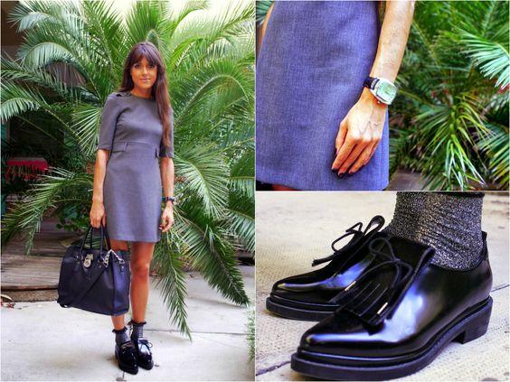 60'S Gray Shift Dress