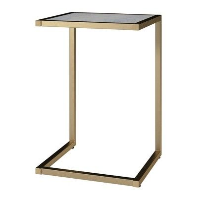 Scarlett C Table White Faux Marble Gold Cosmoliving By