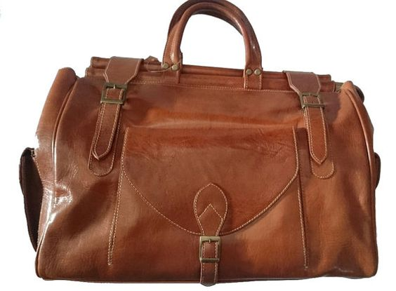 Brown genuine leather doctor bag  old school bag  by MoroccoTouch