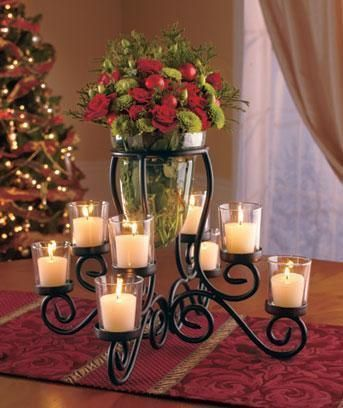 New 8 cup votive candle holder with vase wedding for Candle centerpieces for dining tables